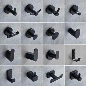 Black Hooks Bathroom Kitchen Hanger Stainless Steel Wall Hook Keys Coat Towel 1p