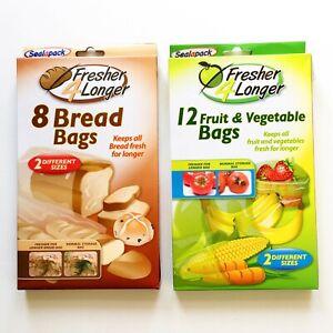 Stay Fresh Bags Seal pack Fruit & Vegetable Bread Storage Bags Fresh 2 Sizes