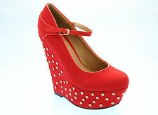 NEW BLACK BEIGE RED LADIES HIGH STUDDED WEDGE HEEL MARY JANE SHOES SIZE 3-8 H464