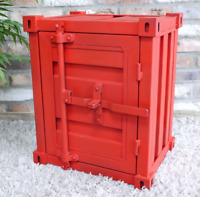 Metal Industrial Shipping Container Style Red Bedside Cabinet Table 46x55x35cm