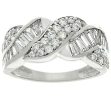 DIAMONIQUE 14K WHITE GOLD ROUND AND BAGUETTE BAND RING SIZE 8 QVC $260.00