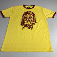 Star Wars T-Shirt Mens S Yellow Maroon Short Sleeve Crew Neck Chewbacca Graphics