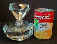 Vintage Perfume Bottle Diamond Cut Lead Crystal Oversized SIGNED c.1955