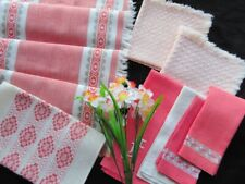 Lot of Eight Vintage Linens Runners Towels Napkins in Peach Coral Apricot Cream