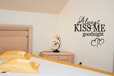 DIY ALWAYS KISS ME GOODNIGHT with HEARTS Wall Art Decal Quote Words Lettering