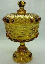 """VINTAGE  AMBER GLASS COMPOTE COVERED CANDY DISH 11"""" TALL"""