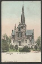 Postcard Darlington in County Durham view of St Cuthbert's Church 1905 by Wrench