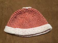 Cap Handmade Baby Crochet knit baby pink white winter reborn doll 6-12 mo hat