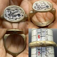 Unique Roman old intaglio Roman  Lovely Ancient silver Ring