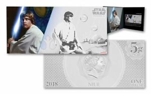 2018 Niue 5 gram Silver $1 Note Star Wars Luke Skywalker with Album ~ Sealed New