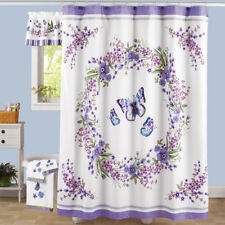 Lavender Floral Butterfly Fabric Bathroom Shower Curtain