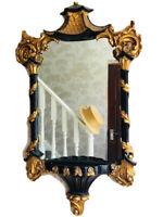 1 Decorative Chinoiserie Ebony Gilt Pagoda Temple Acanthus Rococo Wall Mirror