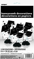 GRADUATION PARTY SUPPLIES 3 x BLACK & WHITE HONEYCOMB TABLE DECORATIONS