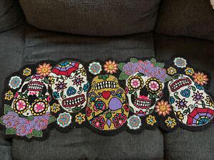 "Halloween Day of the Dead Sugar Skulls Breaded Table Runner 13 x 36"""