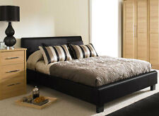 Roma Cheap 5ft King Size Black Modern Designer Faux Leather Bed Frame