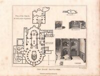 Antique 1809 Book Print/Plate THE HOLY SEPULCHRE. PLAN OF THE CHURCH, JERUSALEM