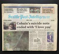 KURT COBAIN Suicide Nirvana RARE Genuine Seattle Post Newspaper April 9th 1994