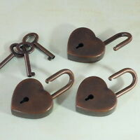(Lot of 3)  Old Vintage Style Heart Shaped Padlocks Key Locks - Antique Copper