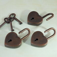 Old Vintage Style Heart Shaped Padlocks Key Locks - Antique Copper - 3 x