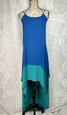 Max and Cleo dress size S high low hem cobalt blue teal chiffon spaghetti halter