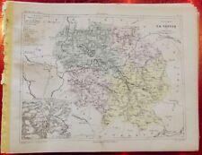 Old Map 1900 France Département la Creuse Gueret Ahun Aubusson Bonnat Lussat