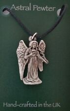 Angel Gothic black cord grey pewter pendant