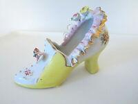 "Vintage Japan ceramic shoe figurine yellow/white gold trim floral 3"" collectible"