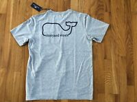 NWT Men's Vineyard Vines Heather Gray Whale Pocket T-Shirt Size S Or XS $42.00