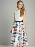 Chi Chi London Floral Party Prom Wedding Cocktail Midi Dress UK 8 10