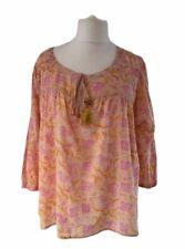 East Fabindia 16 18 Peach Pink Floral Ethnic Smock Tunic Boho Tassel Cotton