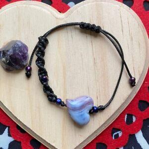Dye striped Heart 💜 braided asymmetric bracelet