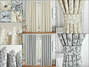 Luxury Miami Heavy Jacquard Eyelet Ring Top Fully Lined Ready Made Curtains New