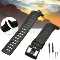 All Black Silicone Rubber Watch Band Replacement Strap + Lugs Adapters   y