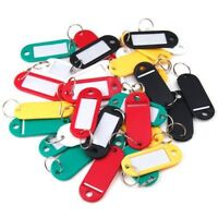 √ 10-100 PCS Key Tags With Ring Keychain Key ID Label Luggage Name Tag Plastic