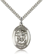 Saint Michael The Archangel Medal For Men - .925 Sterling Silver Necklace On ...