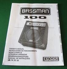 Original Fender Bassman 100 Owner's Manual