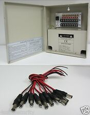 8 CH Channel Power Supply Box CCTV Camera 9 Port 12V,+ Free 10 Pigtail Dc Jack