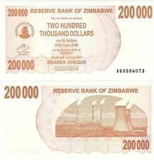 Zimbabwe 200000 Dollars 2007 P-49 UNC Uncirculated Inflation Banknote