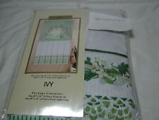 "Curtains of Character by United ""Ivy"" Window Tier set & Ruffle Swag White Green"