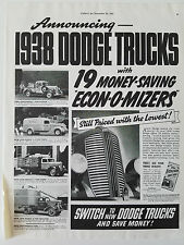 1938 Dodge 1/2 Ton Pickup Panel 1 1/2 Ton Stake 2 Ton Tractor TRUCK  Original Ad