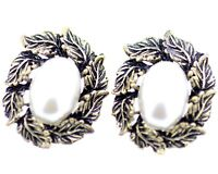 vintage retro style bronze leaves and white pearl stud earrings