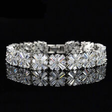 White Gold Plated Sparkly Flower Clear Zircon Stone Bracelet Women Gift Jewelry