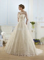 New White/Ivory Lace Wedding Bride Dress Bridal Gown Size 4 6 8 10 12 14 16 18 +