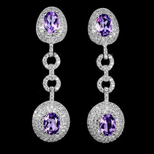 Unheated Oval Amethyst 7x5mm Cz White Gold Plate 925 Sterling Silver Earrings