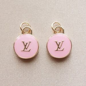 Set of 2 Louis Vuitton LV Zipper Pulls, 15mm, Pink, Gold, Double Sided, Round