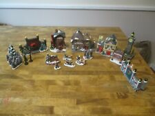Lot Of 20 pc Small Christmas Village Ceramic Houses & Accessories 4-5""