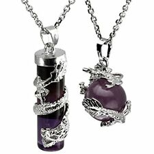 Necklaces Jovivi 2pc Dragon Wrapped Natural Amethyst Round Ball Cylinder Healing