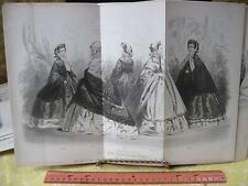 Vintage Print,MARCH 1861,Modes de Paris,B+W,Folded