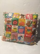 Vtg 80s Handmade Alphabet Learning Educational Daycare Quilted Throw Pillow