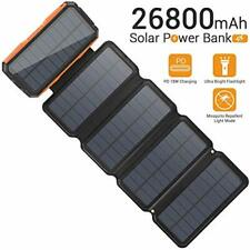 Sendowtek Solar Charger 26800mAh, Portable 5 Solar Panel 7.5W High Efficiency